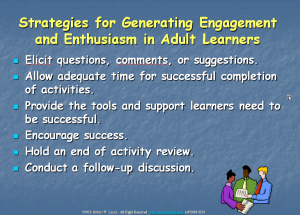 Strategies for Generating Engagement and Enthusiasm in Adult Learners